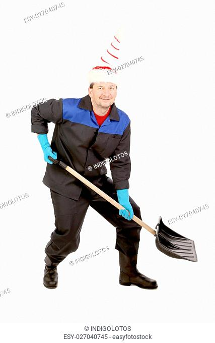 Man in workwear with shovel. Comic. Isolated on a white background