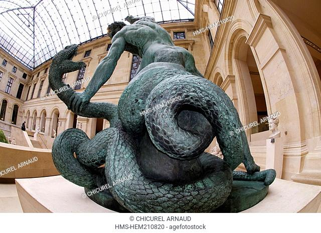 France, Paris, Louvre museum, Puget courtyard, Hercules and the Lernaean Hydra, statue by Bosio 1824