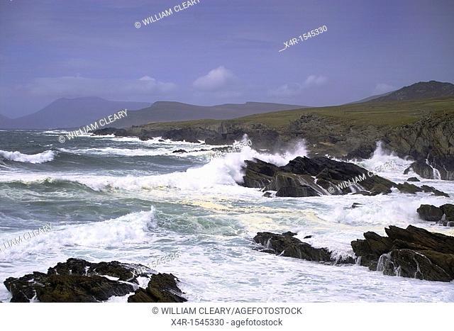 Waves pounding the coastline of Achill Island, County Mayo, Ireland