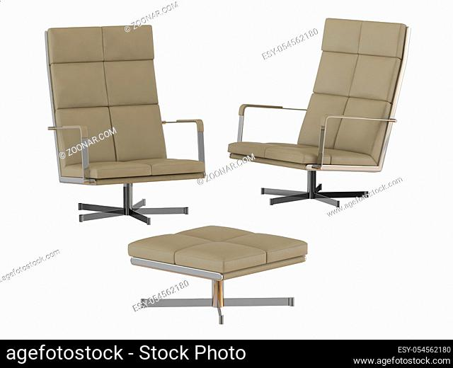 Two Beige office chair and pouf 3d rendering