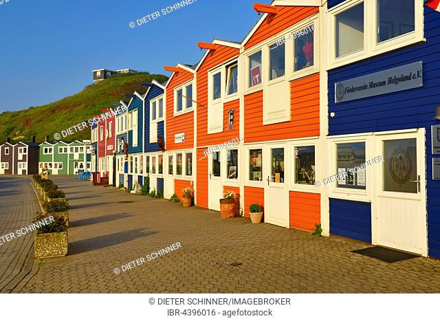 Hummerbuden, colorful lobster shacks, Lower Country, Helgoland, Schleswig-Holstein, Germany