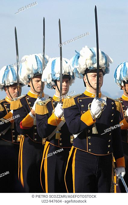 San Marino Republic, soldiers in high uniform during the 1st October Capitani Reggenti's (Ruling Captains) parade