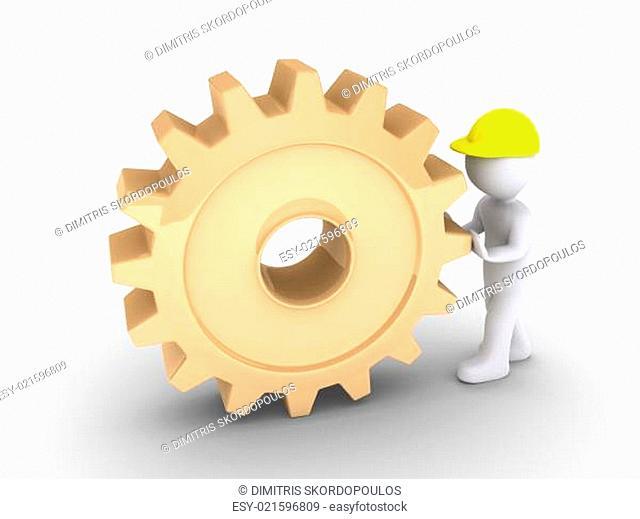 Worker is pushing cogwheel