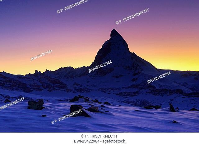 Matterhorn at sunset, Switzerland, Valais, Zermatt