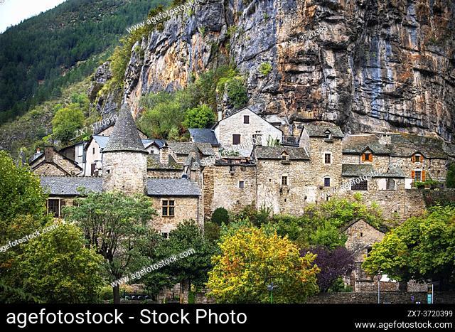 La Malene village in Gorges du Tarn. UNESCO World Heritage Site. Grands Causses Regional Natural Park. Lozere. Occitanie. France
