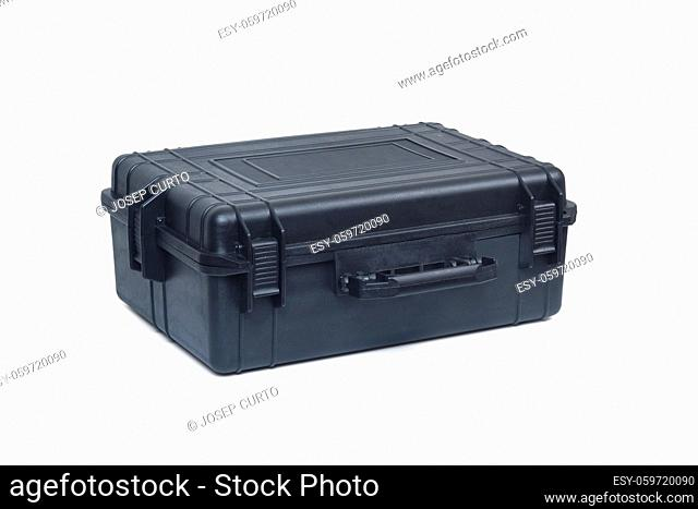 side and front view of a black safety briefcase isolated on white background, closet