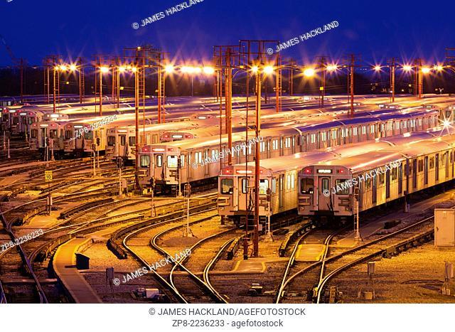 The Greenwood Subway Yards seen at dusk. Toronto, Ontario, Canada