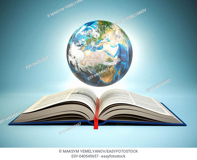 Opened book and Earth on blue background, Education concept. 3d illustration