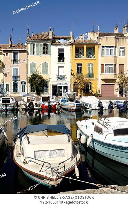 Canalside Houses on Canal Le Miroir aux Oiseaux Martigues Bouches-du-Rhone France
