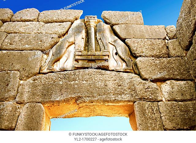 Mycenae Lion Gate & citadel walls built in 1350 B C and known as cyclopean style walls due to the vast size of the blocks it was assumed by visitors in ancientb...