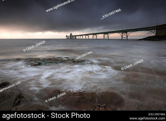 Clevedon Pier in the Severn Estuary, North Somerset, England