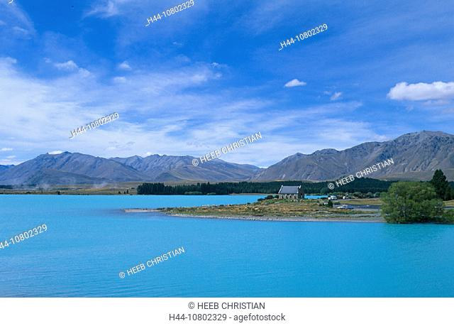 Lake Tekapo, church, Church of good Shepherd, lake, New Zealand, scenery, landscape, south island