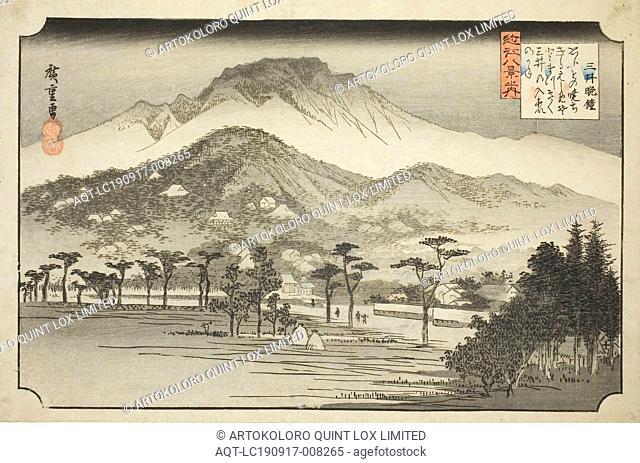 The Evening Bell at Miidera (Mii no bansho), from the series Eight Views in Omi Province (Omi hakkei no uchi), 1837/38, Utagawa Hiroshige ?? ??, Japanese