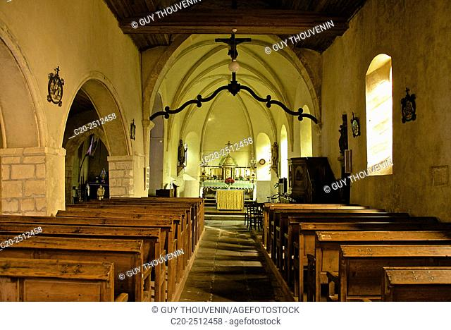 Church 12th c. ( inside ), Vauville, Cotentin, Normandy, france