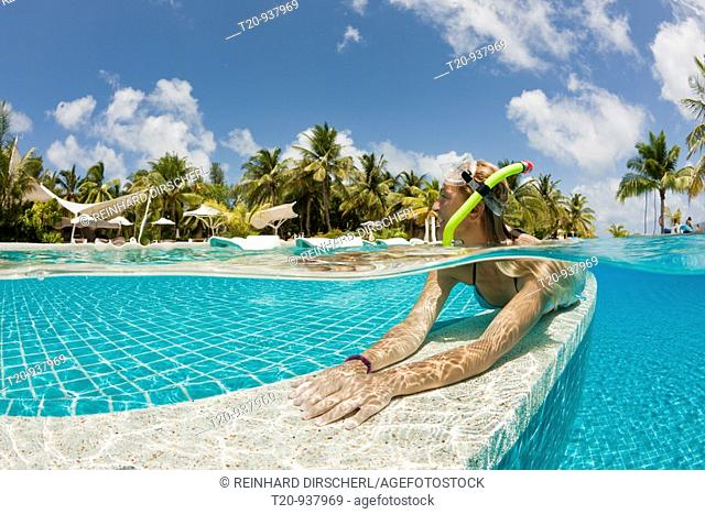 Woman in Swimming Pool, South Male Atoll, Maldives