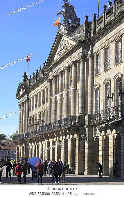 Spain, Galicia, Santiago de Compostela, Plaza del Obradoiro, Raxoi Palace, Town Hall