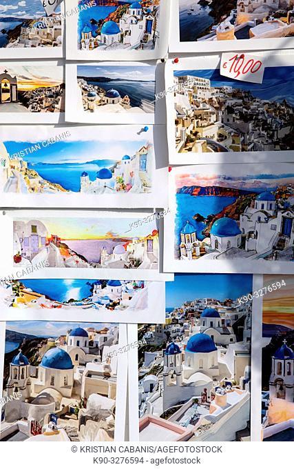 Postacards in Oia, Santorin, Greece, Europe