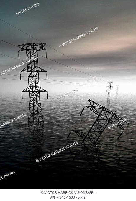 Electricity pylons submerged in flood water illustration