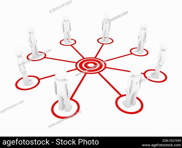 3d human men connection team teamwork circle red