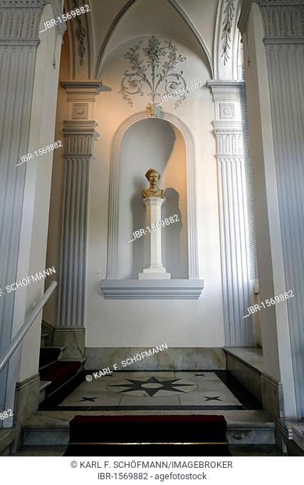 Neo-classical staircase with bust of the landscape painter B.C. Koekkoek, Museum Koekkoek, Kleve, Niederrhein region, North Rhine-Westphalia, Germany, Europe