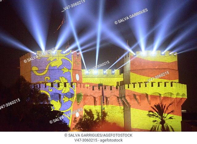 At the beginning of the festivities of the Fallas, the Falleras are proclaimed in the Serrano Towers and the flag of Valencia is projected onto the emblematic...