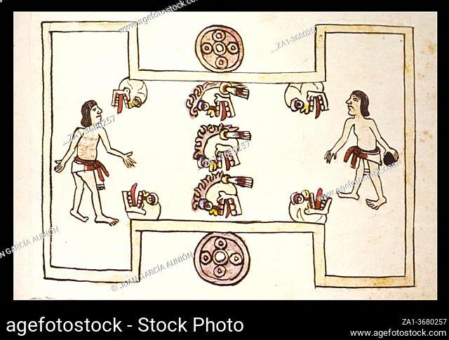 Mictlantecuhtli ballgame at Magliabechiano Codex. Folio 67r. 16th-century pictorial Aztec codex. Folio. Museum of the Americas, Madrid, Spain