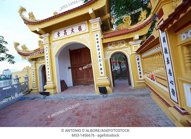 The entrance gate of Tran Quoc, the oldest Buddhist temple of Hanoi, Vietnam