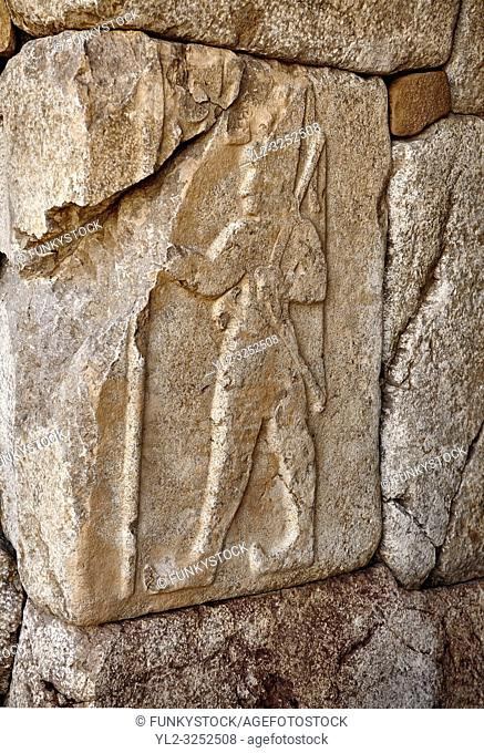 A cult chamber built by Suiluliuma II, 1200 BC, with Hieroglyphic stone panelled walls. Hattusa (also Ḫattuša or Hattusas) late Anatolian Bronze Age capital...