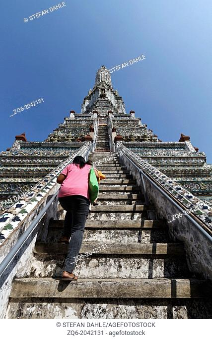 Steep Staircase to the central Prang of the Wat Arun in Bangkok, Thailand