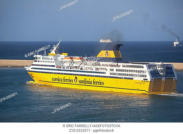 Early morning ferry sailing from port of Livorno Italy for Mediterranean destinations
