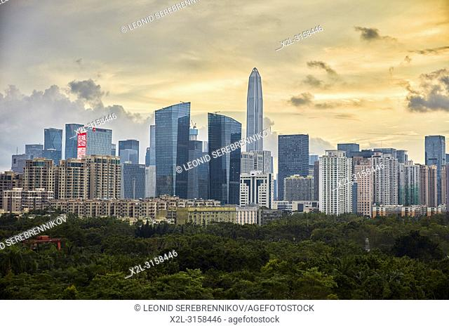 High-rise buildings in Futian District. Shenzhen, Guangdong Province, China