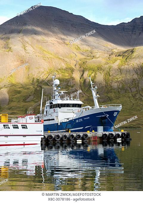 The harbour in Siglufjoerdur on the Trollaskagi peninsula in iceland. europe, northern europe, iceland, september