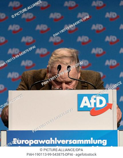 13 January 2019, Saxony, Riesa: Alexander Gauland, parliamentary party leader of the AfD in the Bundestag and AfD spokesman