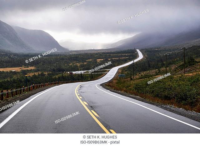 Winding rural road through Gros Morne National Park, Newfoundland, Canada