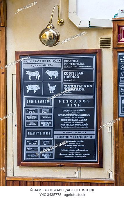 Menu boards outside cafe in Seville in Andalusia Spain