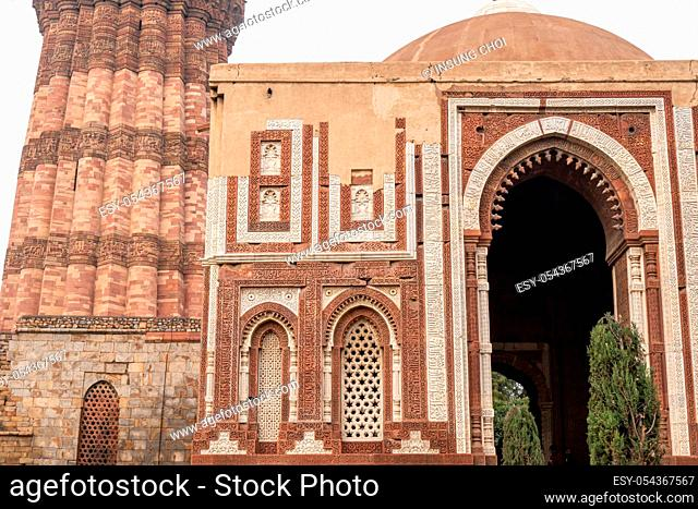 alai darwaza a southern gateway of the quwwat ul islam mosque in qutb complex in new delhi, india