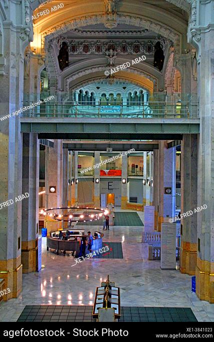 interior of the CentroCentro cultural center, Cibeles Palace, 1909, architects Antonio Palacios and Joaquín Otamendi, Madrid, Spain