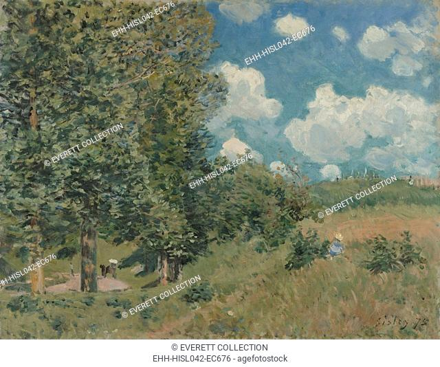 Road from Versailles to Saint-Germain, by Alfred Sisley, 1875, French impressionist oil painting. He painted this plein-air landscape in the bright light of a...