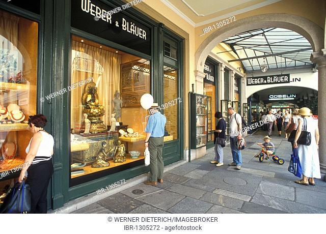 Shops in the Via Nassa, shopping arcade with people shopping, street scene, Lugano, Ticino, Switzerland, Europe