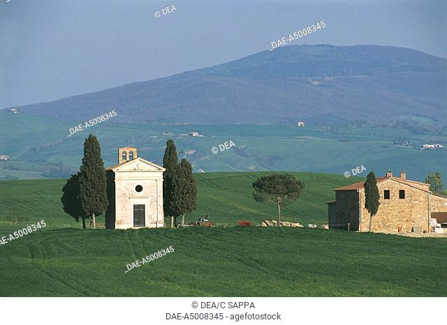 Italy - Tuscany Region - The Orcia Valley Artistic, Nature and Cultural Park (UNESCO'S World Heritage Site, 2004) - Surroundings of San Quirico d'Orcia - Chapel...