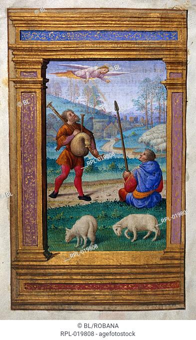 Annunciation to the shepherds, Whole folio Office of the Virgin at Terce. An angel appears to two shepherds, one with bagpipes, the other holding a stick