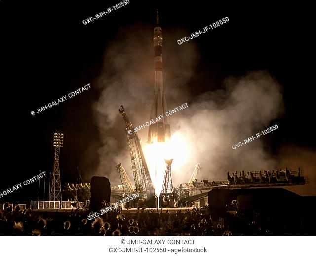 A Soyuz rocket with Expedition 3637 Soyuz Commander Fyodor Yurchikhin of the Russian Federal Space Agency (Roscosmos), along with Flight Engineers Luca...