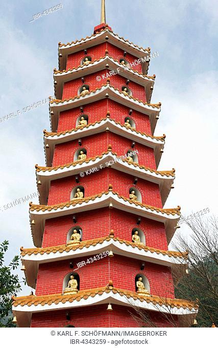 Pagoda, Ten Thousand Buddhas Monastery, Sha Tin, New Territories, Hong Kong, China