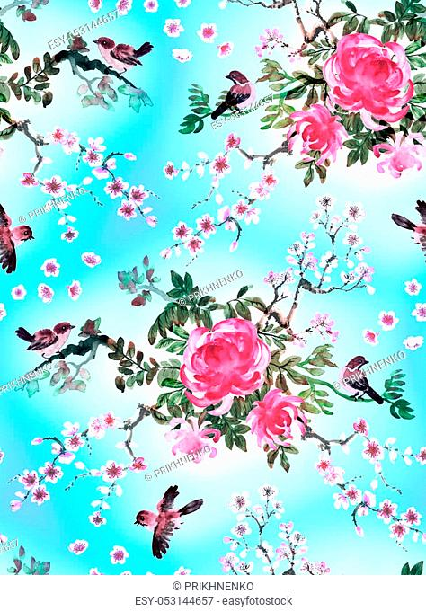 Pink chrysanthemum, sakura and birds on blue background. Seamless pattern hand drawn with watercolor in japanese style