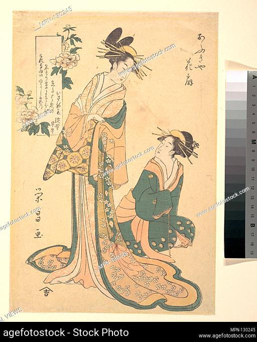 Courtesan and Her Maid. Artist: Chokosai Eisho (Japanese, 1793-99); Period: Edo period (1615-1868); Culture: Japan; Medium: Polychrome woodblock print; ink and...