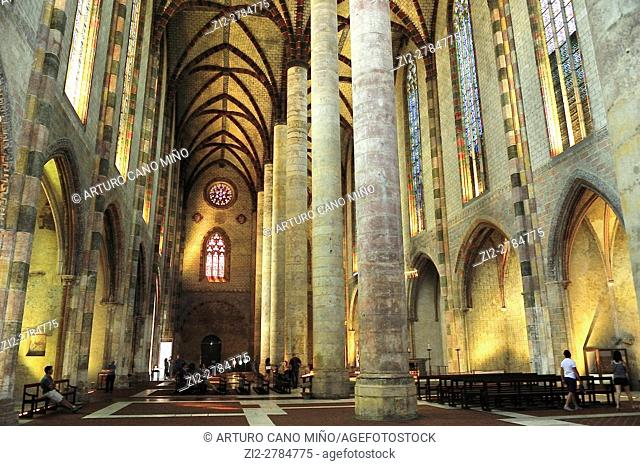 The Gothic Church of the Jacobins, XIIIth century. The nave. Toulouse, Haute-Garonne department, Occitanie region, France