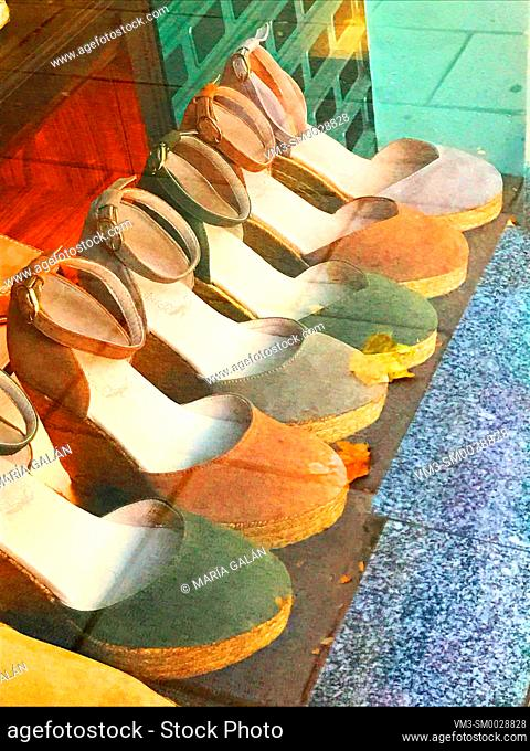 Espadrilles in a shop window