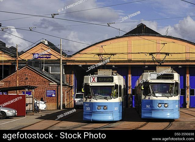 Gothenburg, Sweden A tram depot and trams