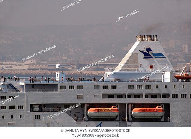 huge ferry boat leaving harbour of Marseille, France