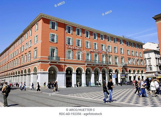 Shopping centre Galery Lafayette, Place Massena, Nice, Alpes-Maritimes, Provence-Alpes-Cote d'Azur, Southern France, arcades